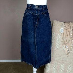 VINTAGE Jordache Bow-back Jean Midi Skirt B8